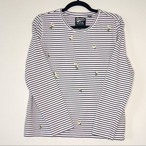 SUPERDRY 3/4 Sleeve Embroidered Striped Tee 10
